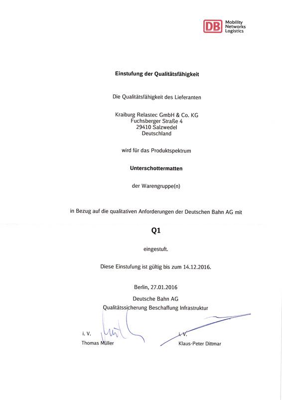 Deutsche Bahn Q1 Zertifizierung