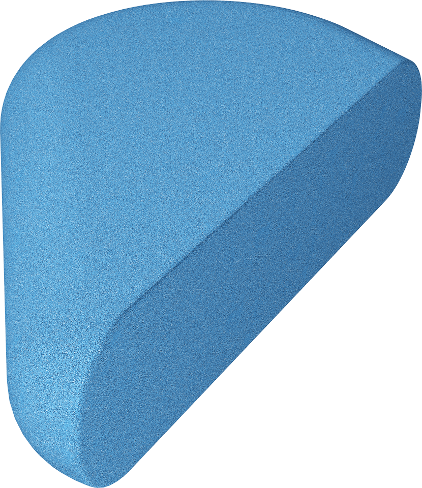 half heart EPDM bright blue
