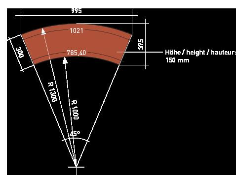 Reitplatzeinfassung 1/8 Kreissegment Bemaßung