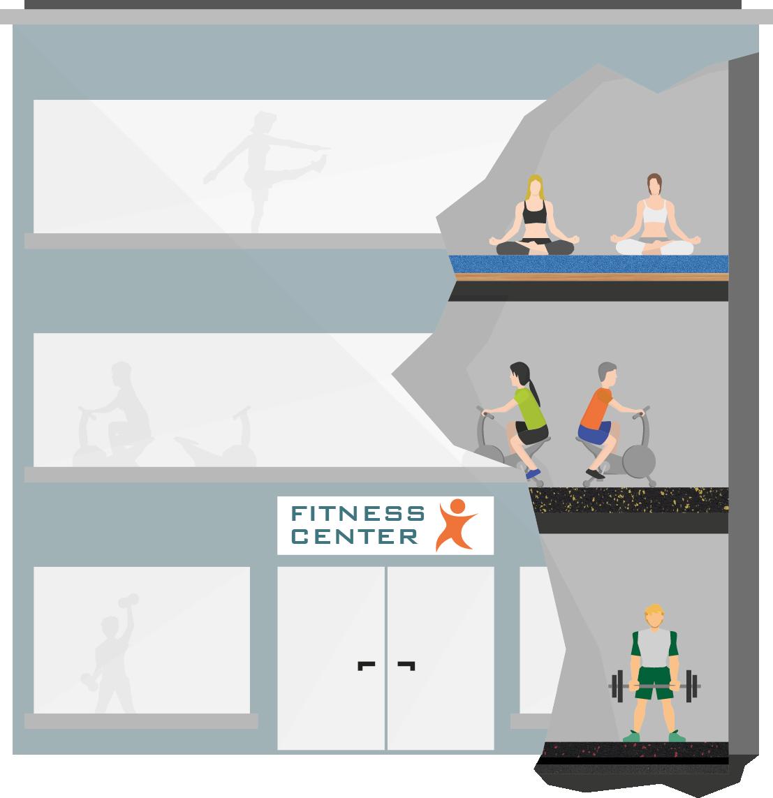 Fitnesscenter grau